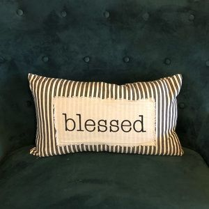 """Blessed"" down filled throw pillow"